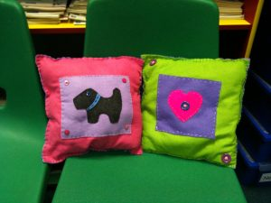 Cushions from level 1 after school sewing club